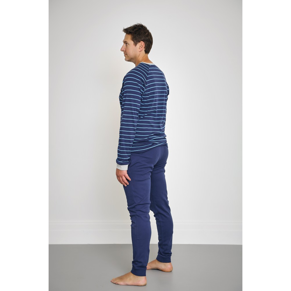Men's Bright Blue Striped Print PJ