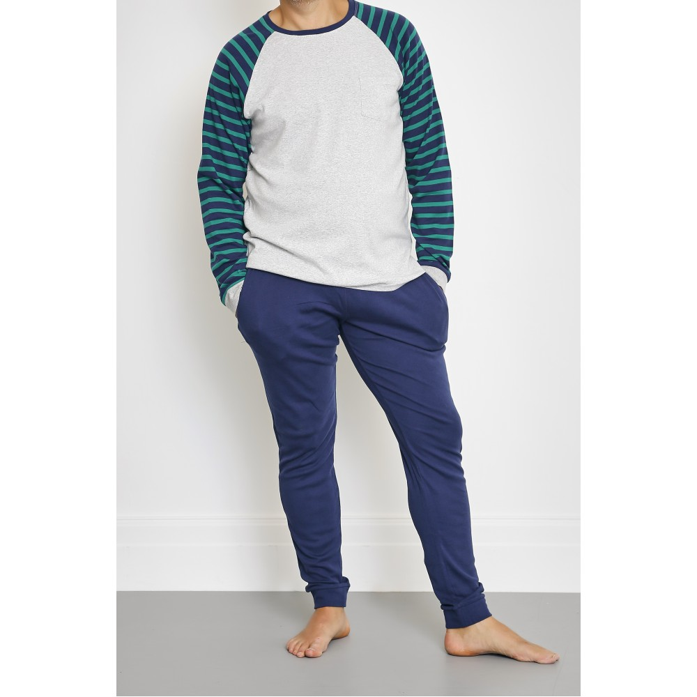 Mens Green Striped PJ
