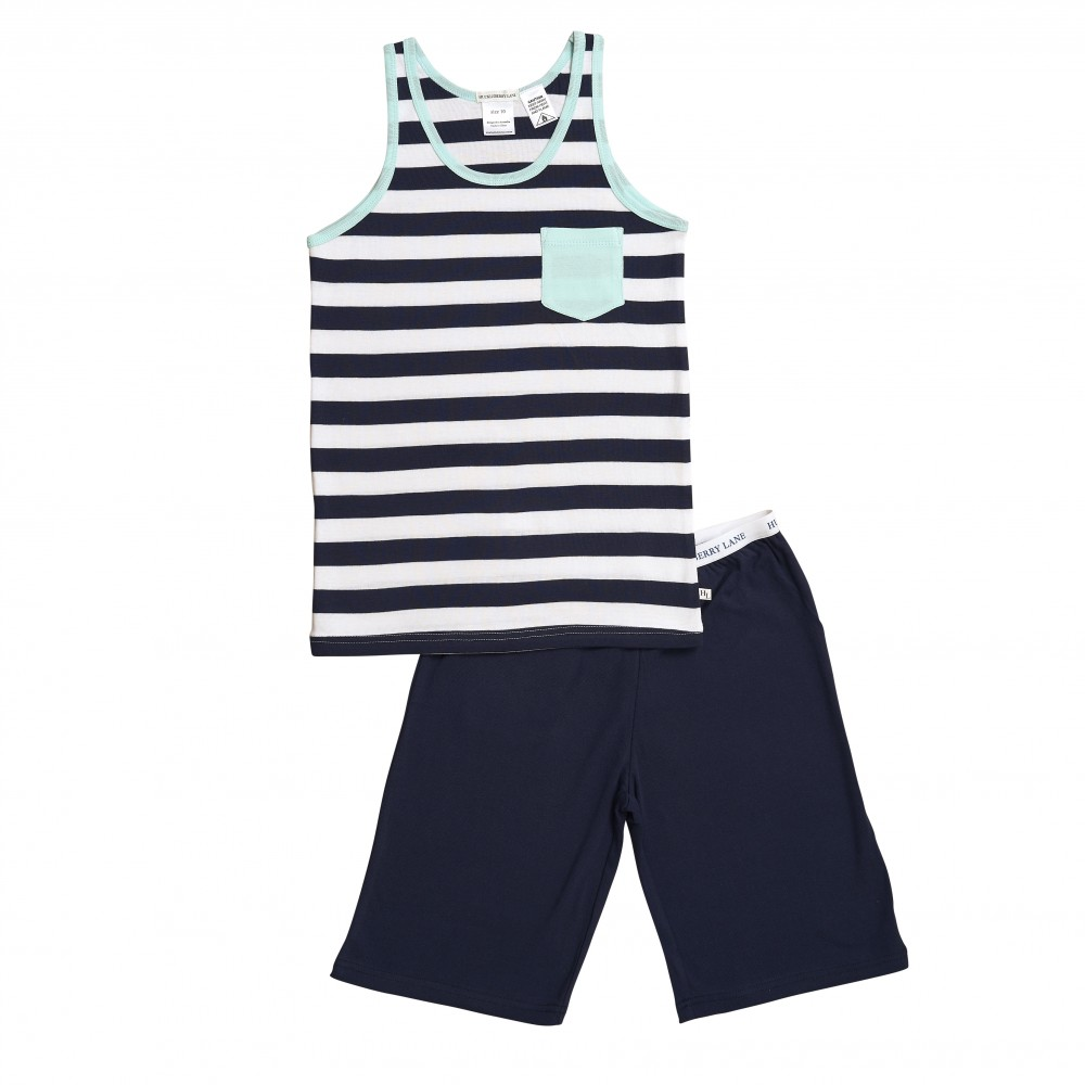 Navy Stripe Singlet Teen PJ