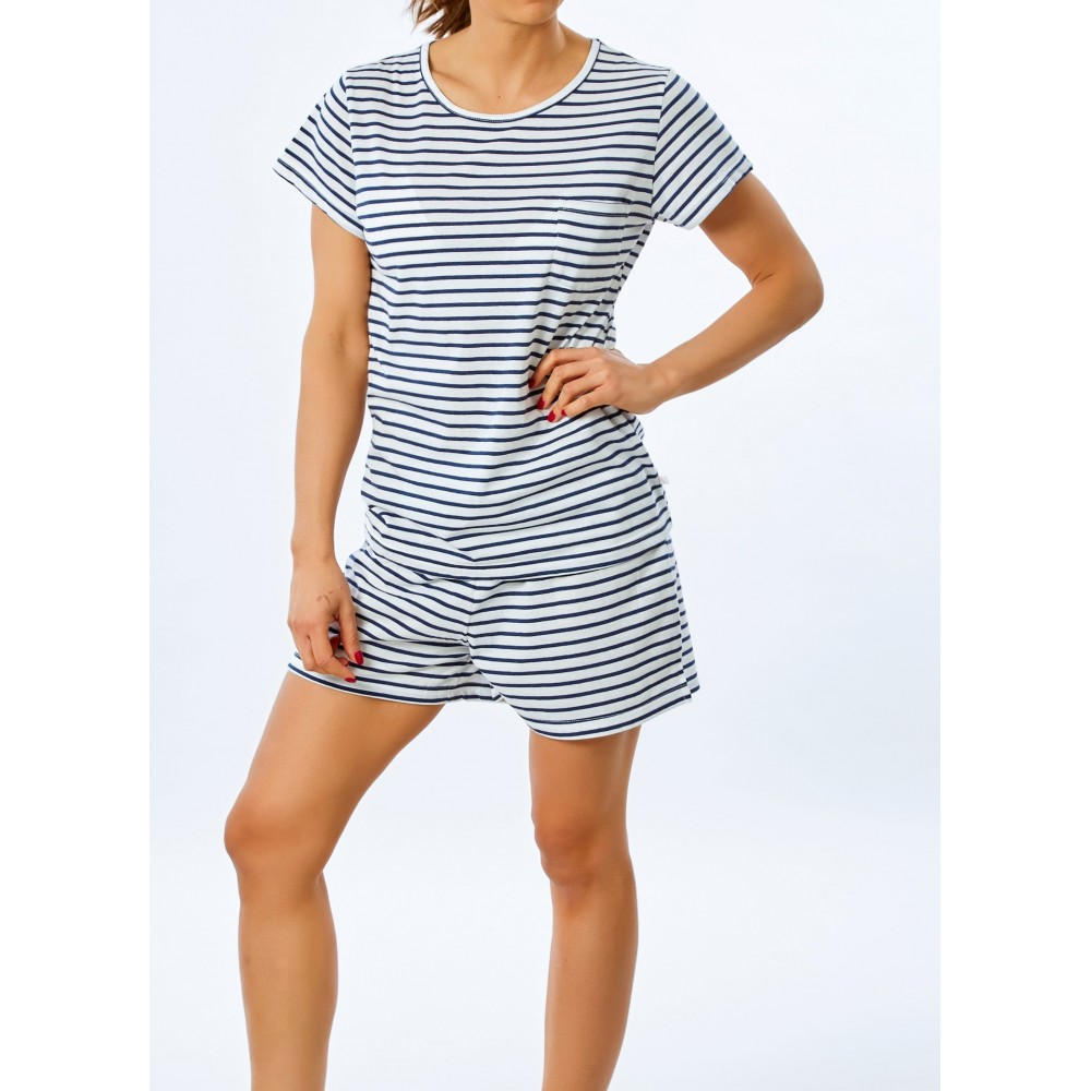 Navy Stripe Plain PJ