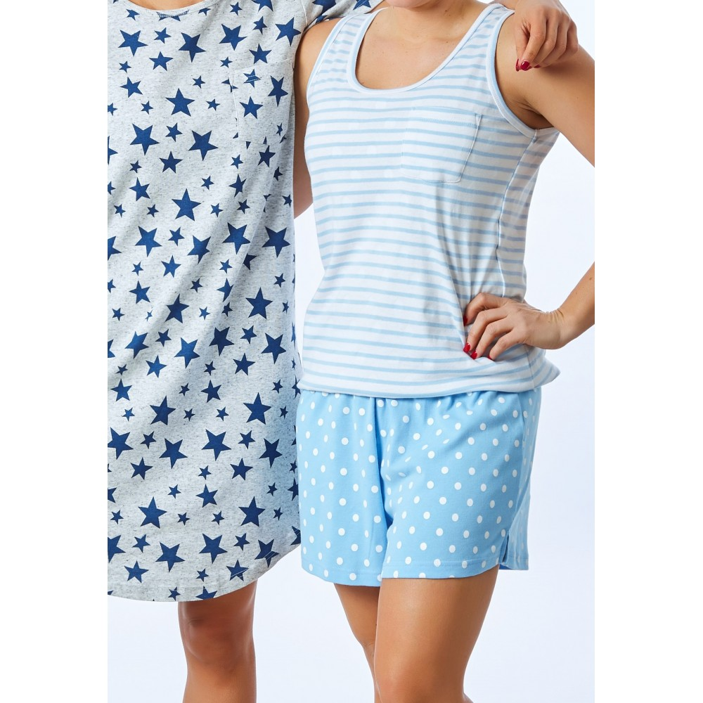 Women's Blue Stripe Singlet PJ