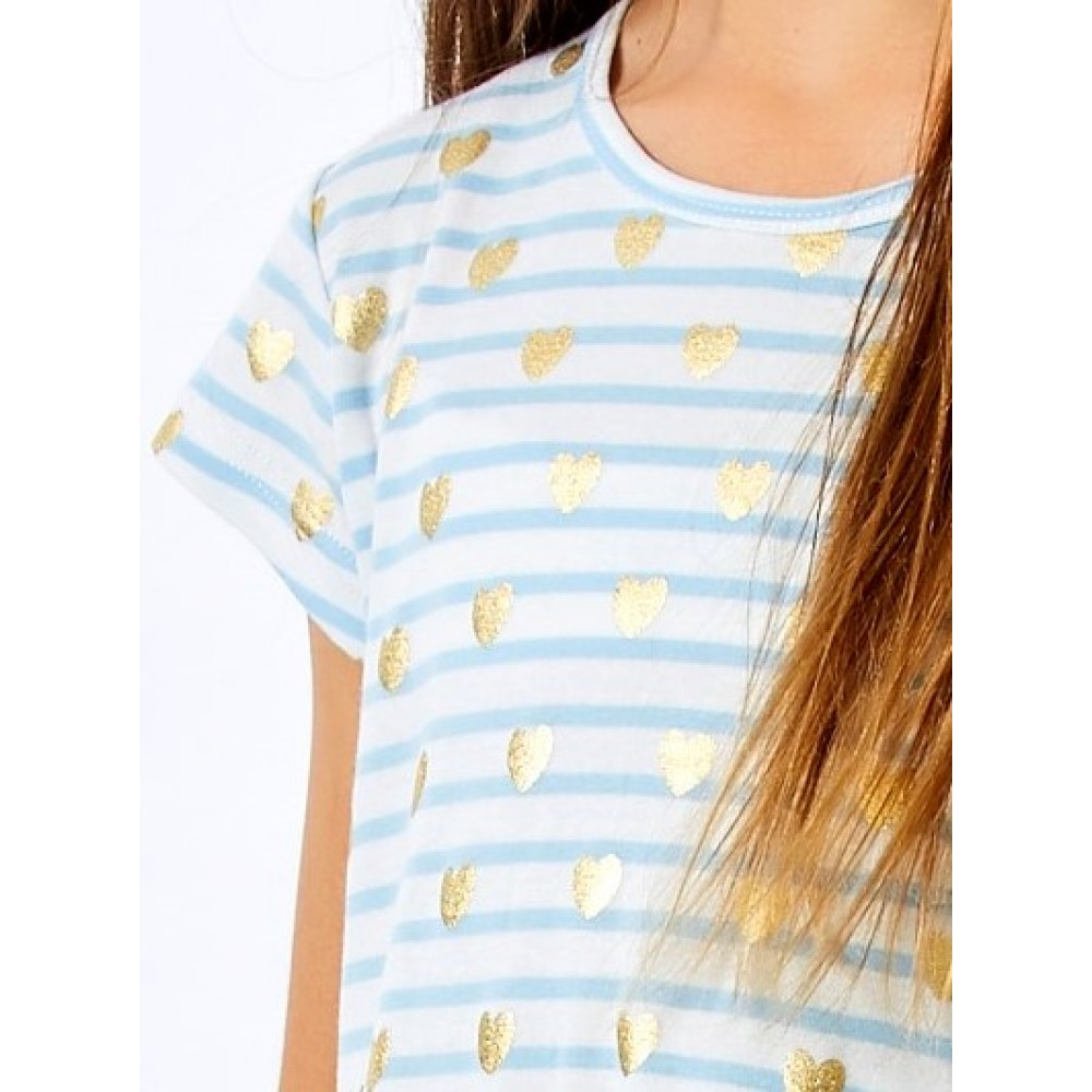 Gold Heart Stripe Nightie