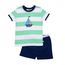 Green Striped Boat Pj