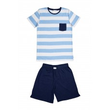 Sky Blue & Navy Stripe PJ