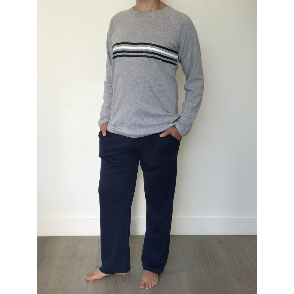 Mens Grey Striped PJ Set