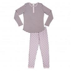 Pink & Navy Stripe Long Sleeve PJ Set