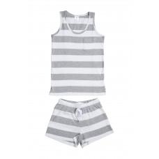 Grey & White Stripe Singlet PJ Set