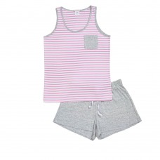 Women's Pink Stripe Singlet PJ Set