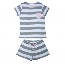Women's Grey Stripe PJ Set