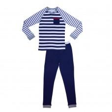 Blue Striped Plain Pocket Teen Pj