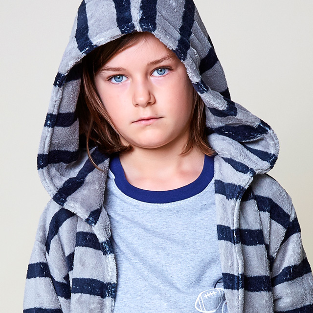 Boys Navy Stripe Dressing Gown