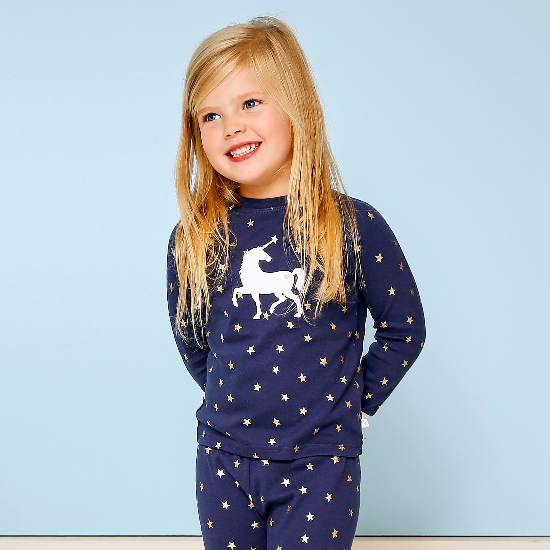 Girls Navy Star PJs